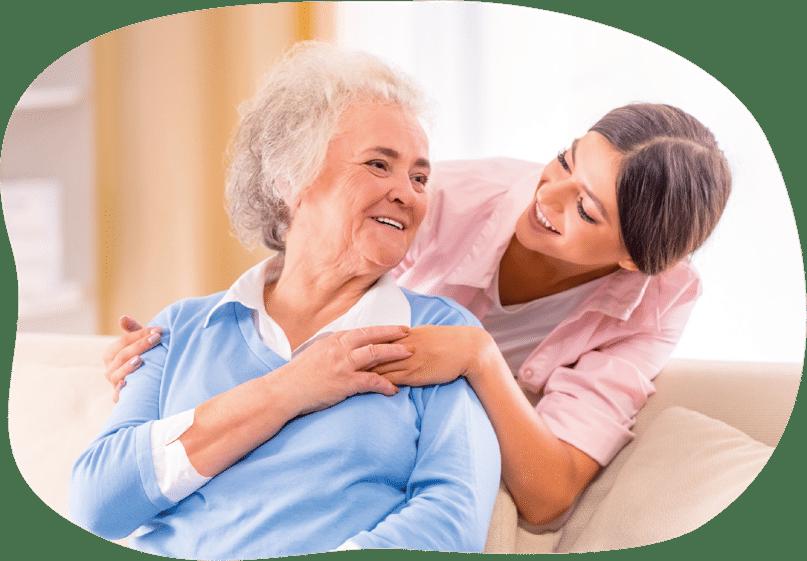 fürsorgliche Betreuung mit ältere Frau